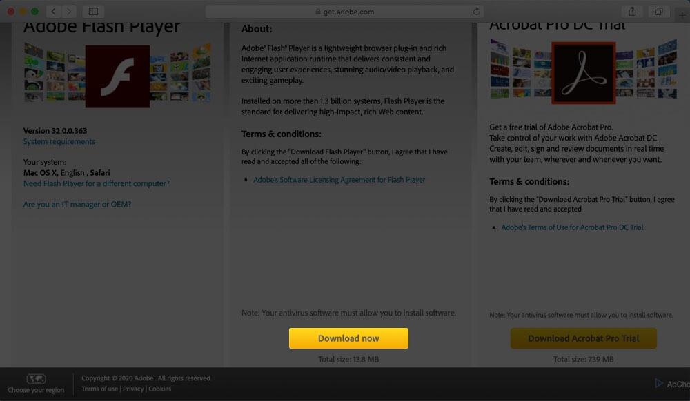 Download Adobe Flash Player on Mac