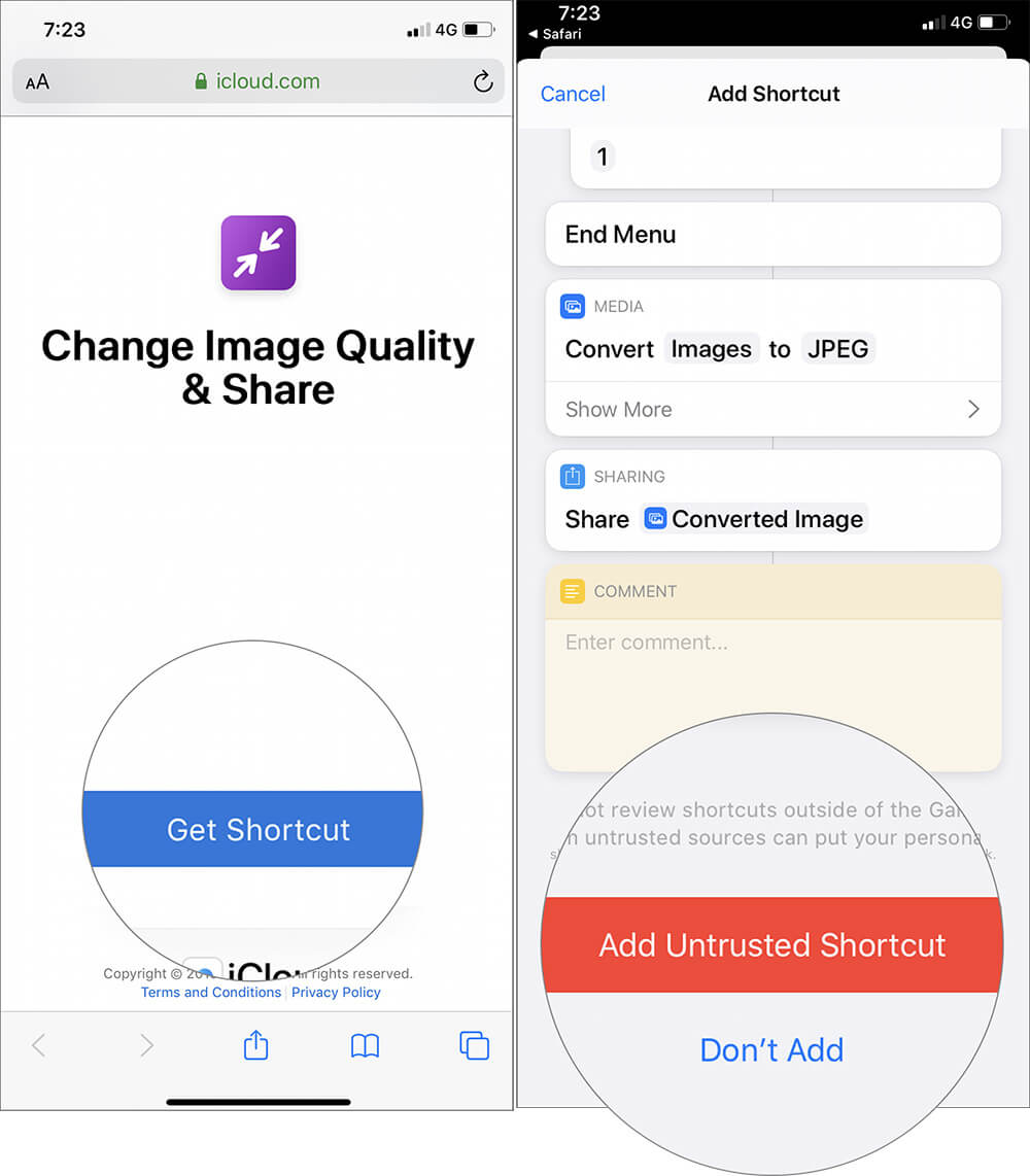 Download Change Image Quality & Share Shortcut in iPhone
