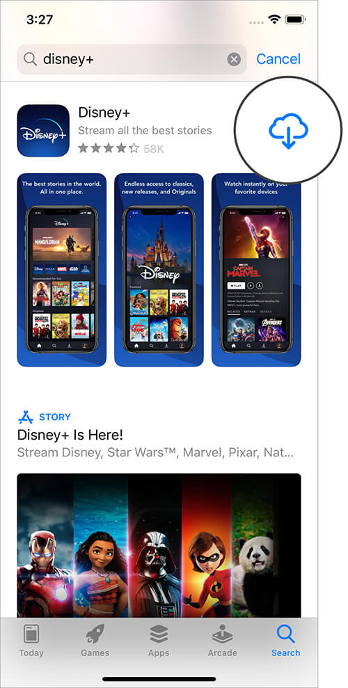 Download Disney Plus App from App Store on iPhone