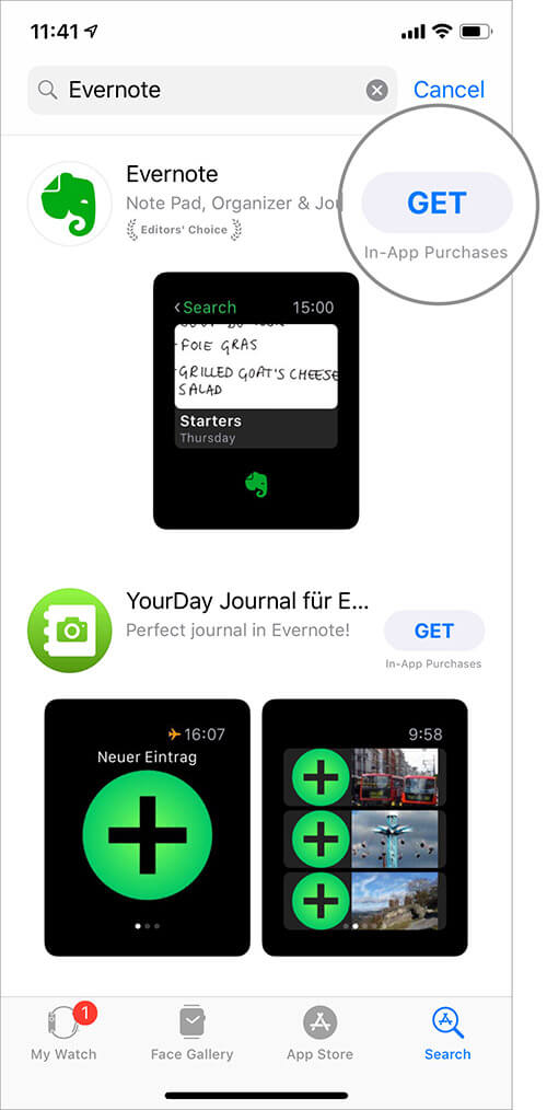 Download Evernote App from Watch App Store