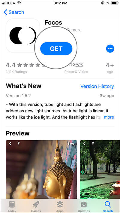 Download Focos app on your iPhone 8 Plus or 7 Plus, iPhone X
