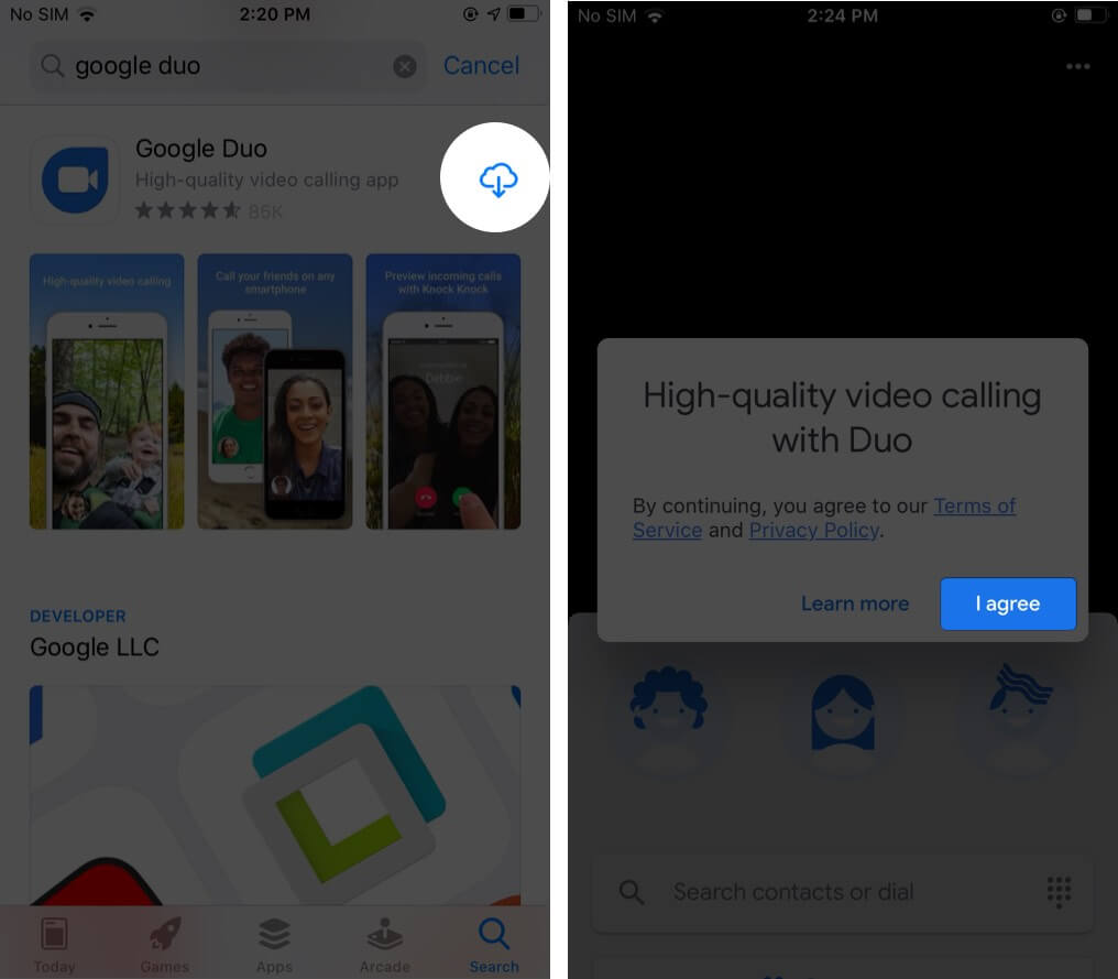 Download Google Duo on iPhone and Tap on Agree