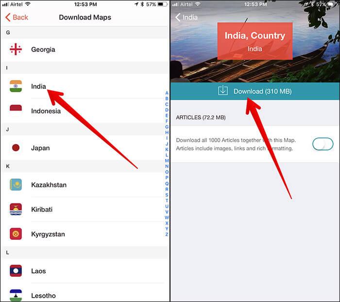 Download Offline Maps in CityMaps2Go iPhone App