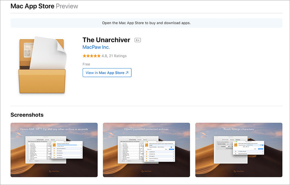 Download and Install The Unarchiver App on Mac