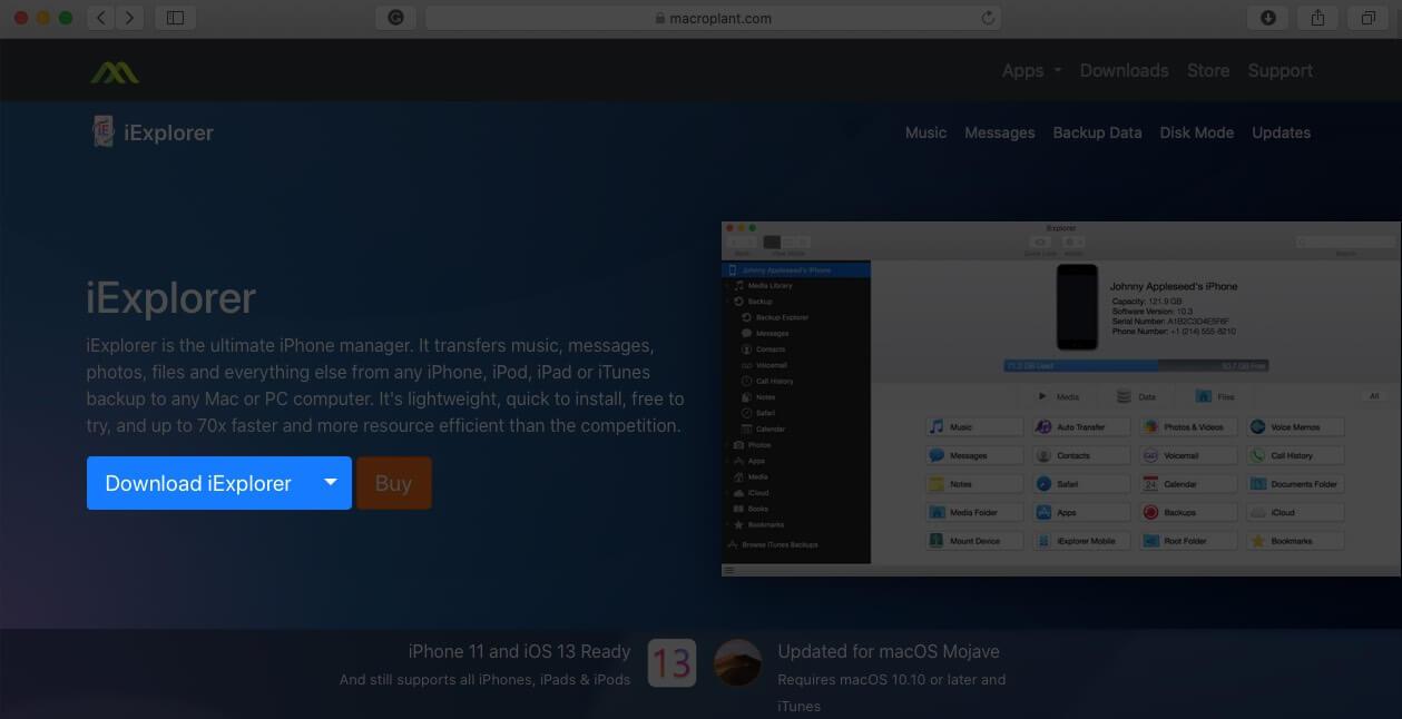 Download iExplorer on Mac