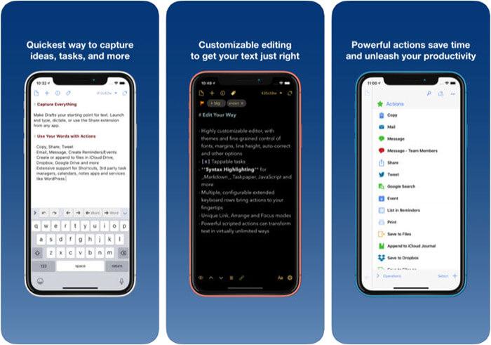 Drafts 5 Note-taking iPhone and iPad App Screenshot