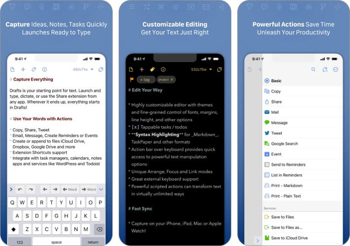 Drafts text editor for iPhone and iPad screenshot