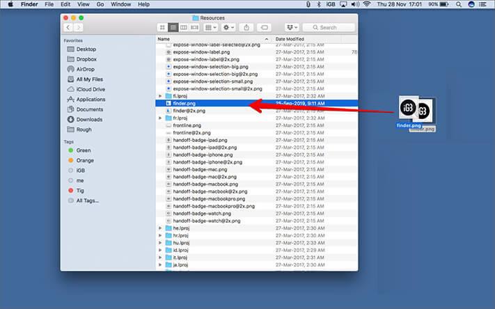 Drag PNG image file from desktop to Resources folder on Mac