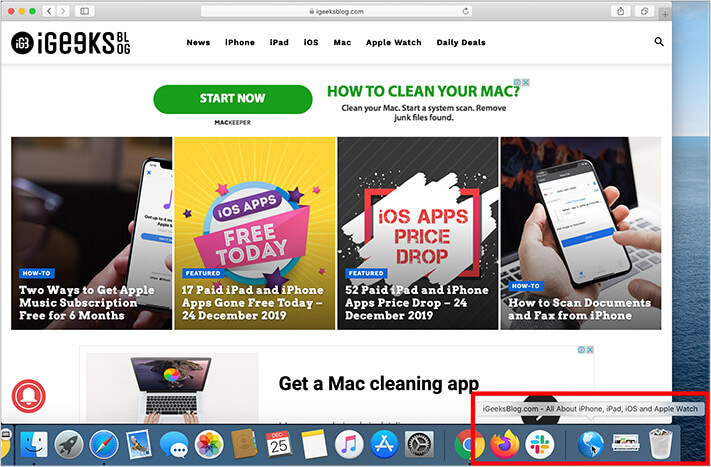 Drag to create Website Shortcut to Dock on Mac