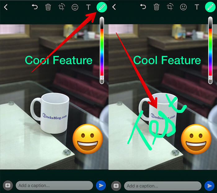 Draw on Photo or Video in WhatsApp on iPhone