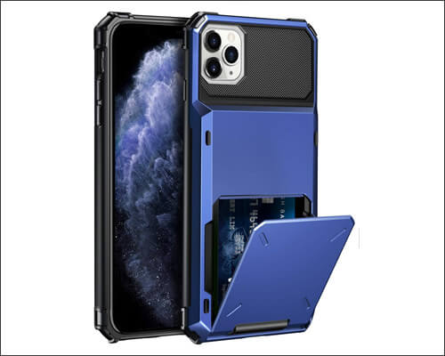 ELOVEN iPhone 11 Pro Rugged Wallet Case with Hidden Credit Card