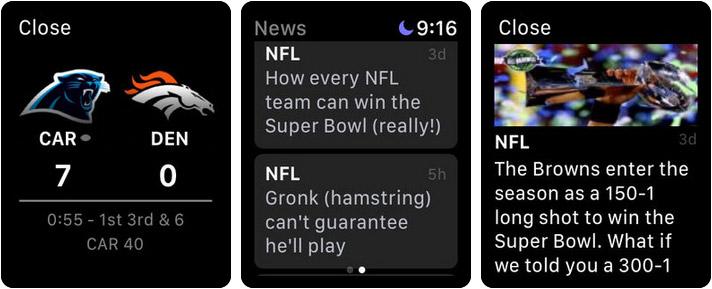 ESPN Apple Watch News App Screenshot