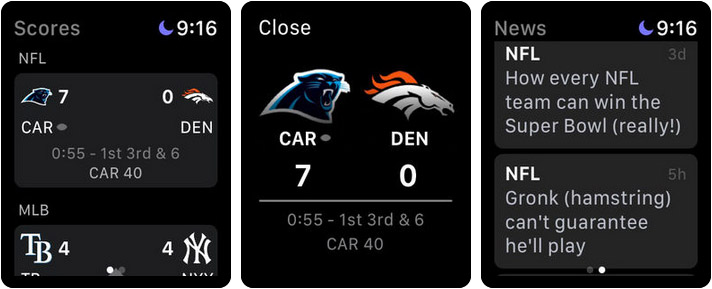 ESPN Live Sports & Scores Apple Watch App Screenshot