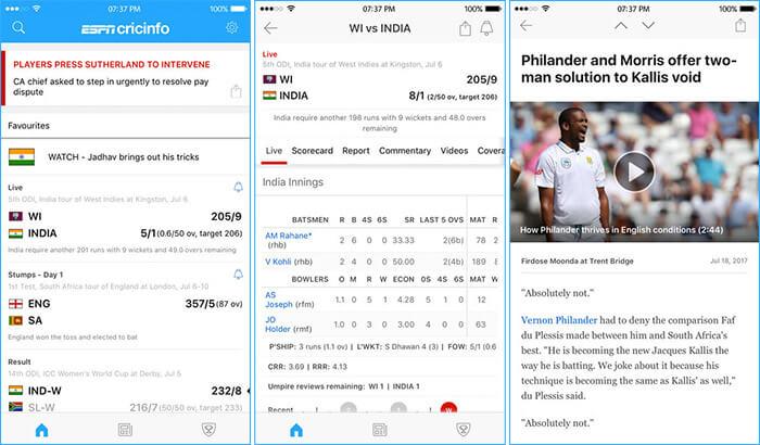 ESPNcricinfo Cricket iPhone App Screenshot