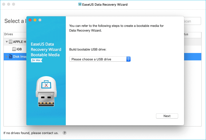 EaseUS Mac Data Recovery Bootable Recovery Drive Options