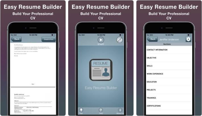 Easy Resume Builder iOS App