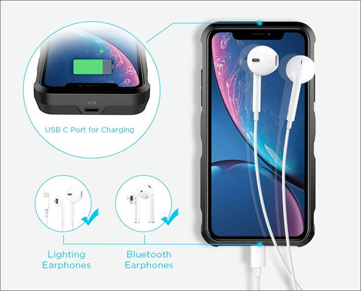 EasyAcc iPhone XR Battery Case with USB Type C Port