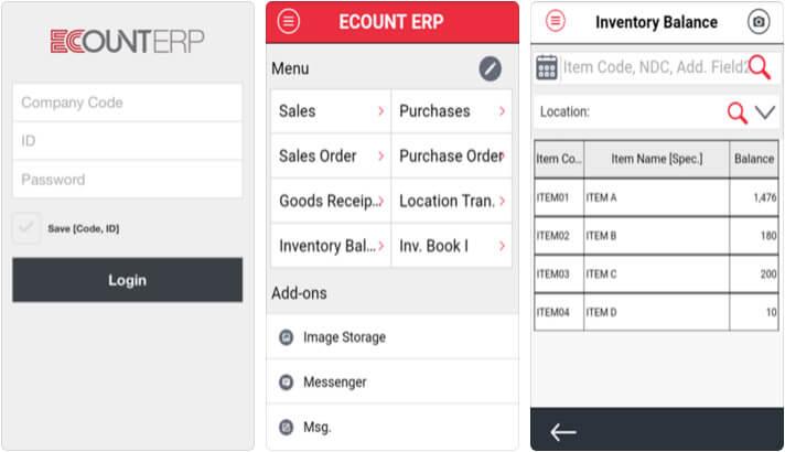 EcountERP iPhone App Screenshot