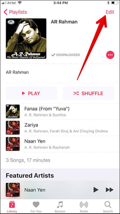 Edit Apple Music Playlist on iPhone