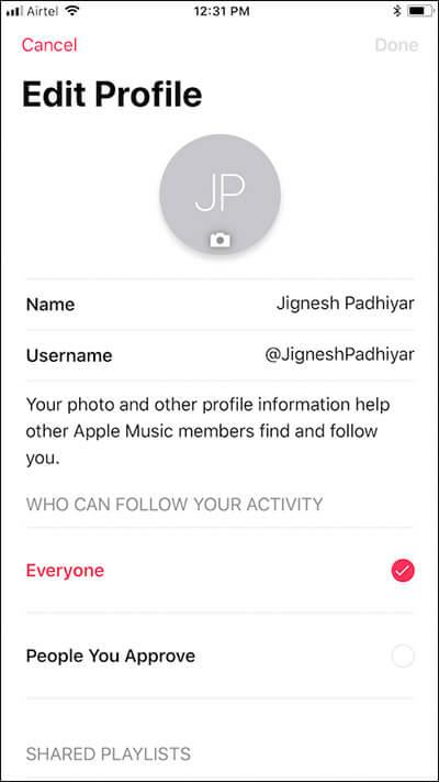 Edit Apple Music Profile on iPhone