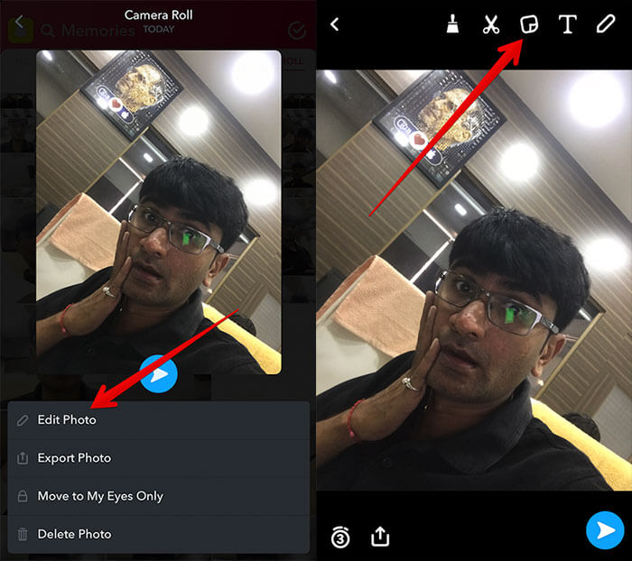 Edit Camera Roll Photo in Snapchat on iPhone