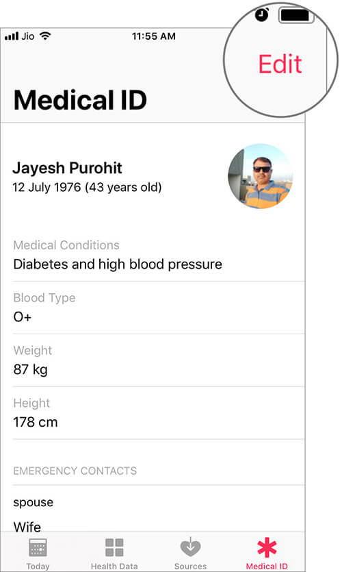 Edit Emergency Contacts in Health App on iPhone