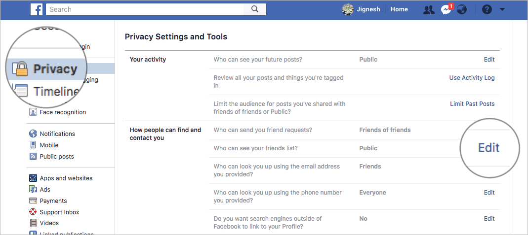 Edit Facebook Privacy on Mac or Windows PC