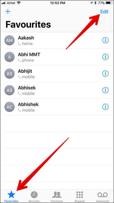 Edit Favourites Contact on iPhone
