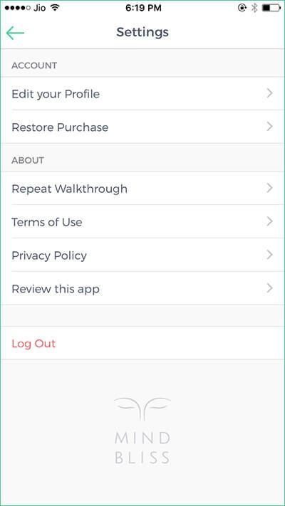 Edit Mindbliss Meditations iPhone App Profile