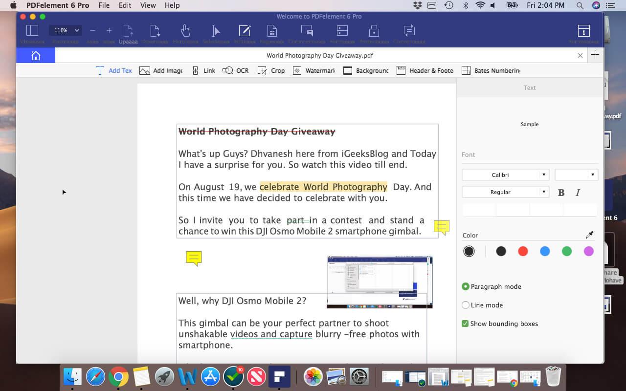 Edit PDF File on Mac using PDFElement Pro