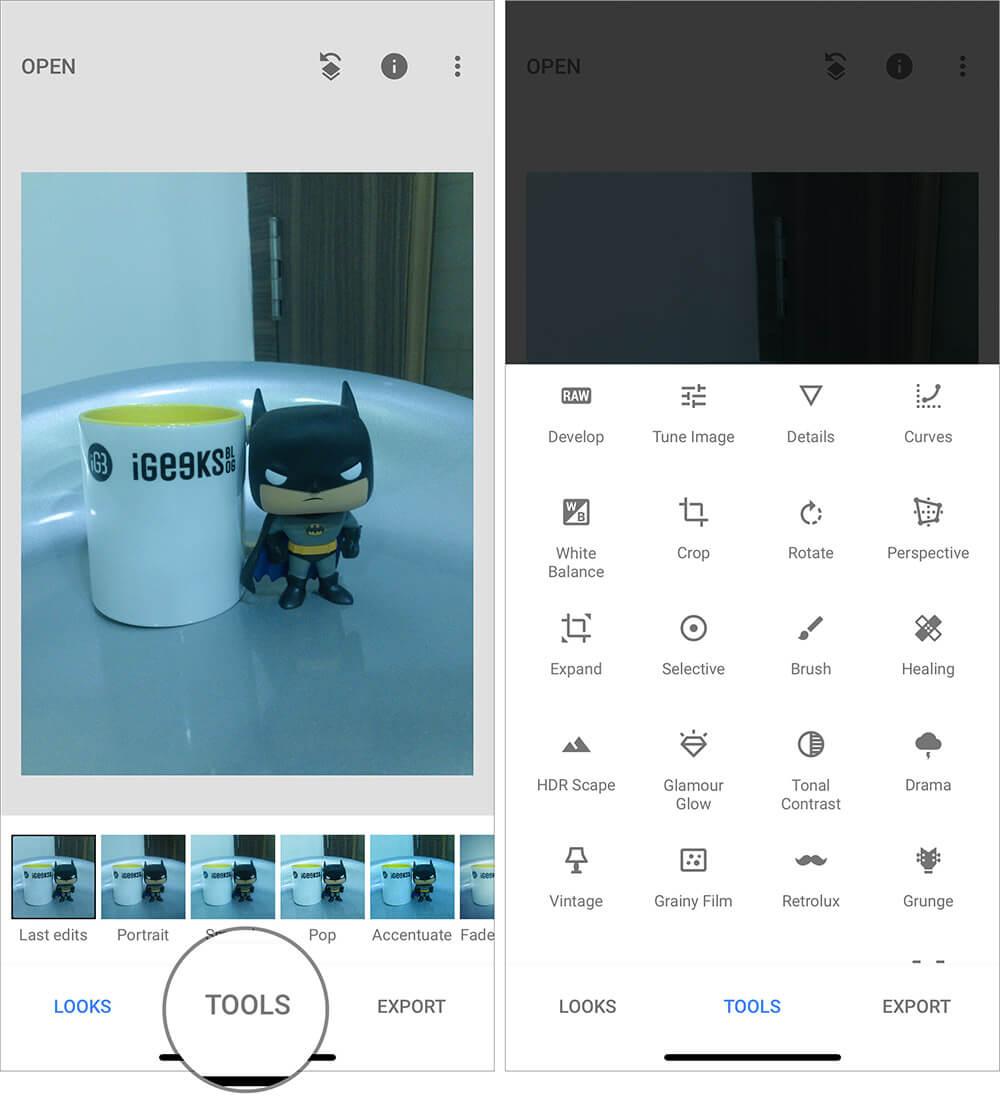 Edit Raw Photo on iPhone using iOS Snapseed app