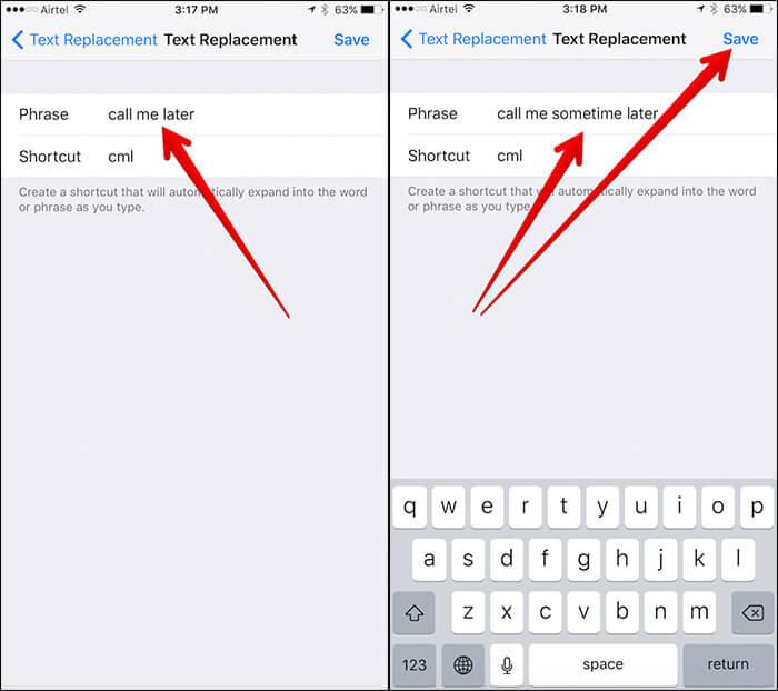 Edit Text Shortcut on iPhone