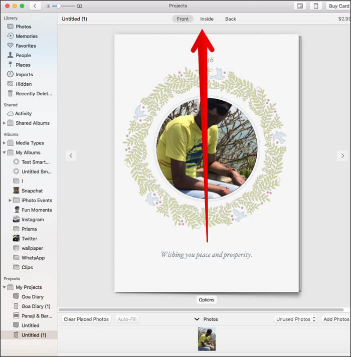Edit the Card in Photos App on Mac