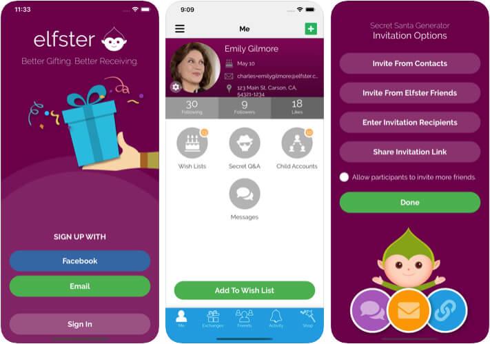 Elfster Secret Santa Generator iPhone App Screenshot