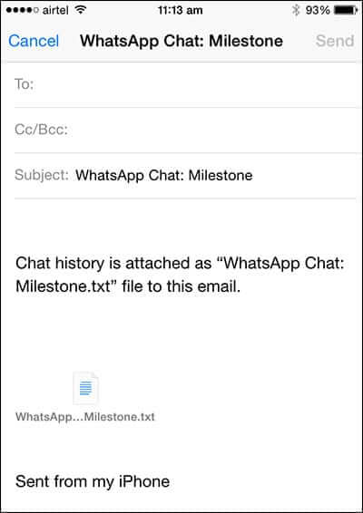 Email WhatsApp Chat History from iPhone