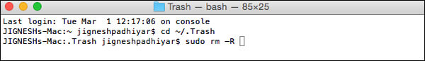 Empty Trash in Mac Using Terminal