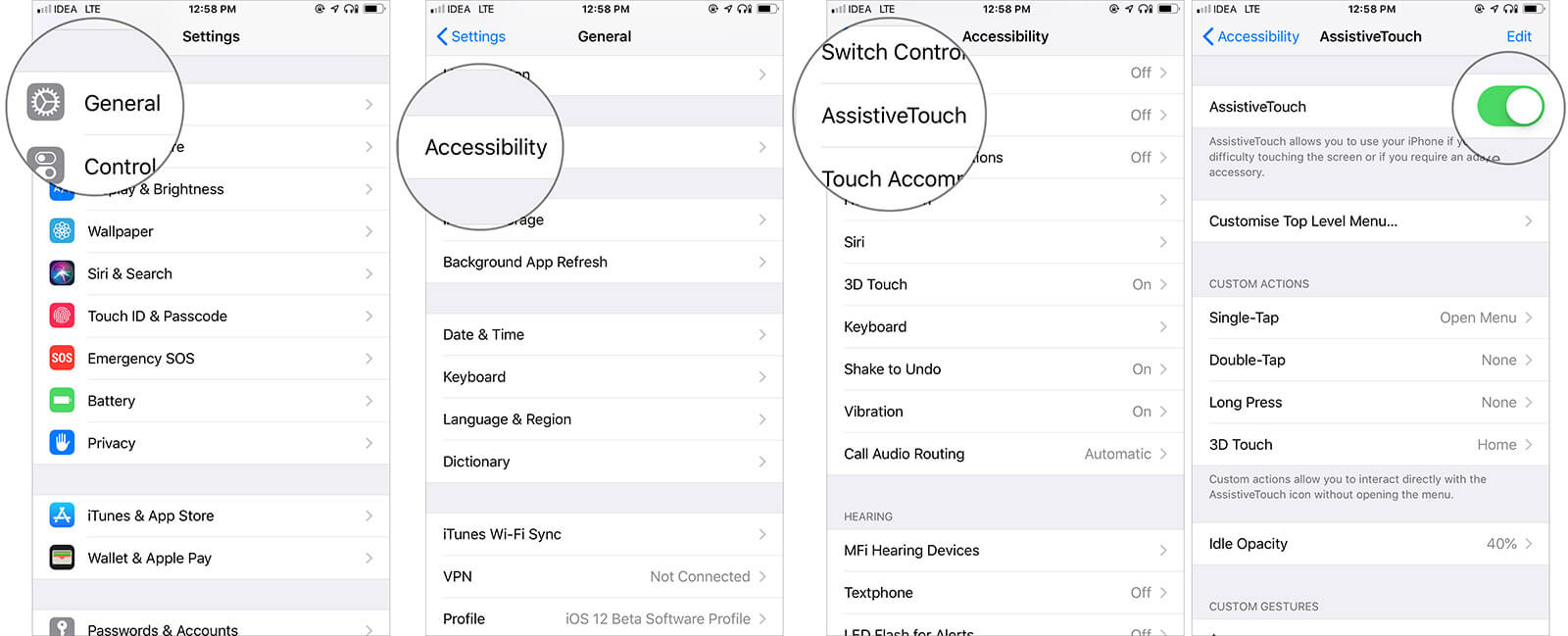Enable AssistiveTouch on iPhone