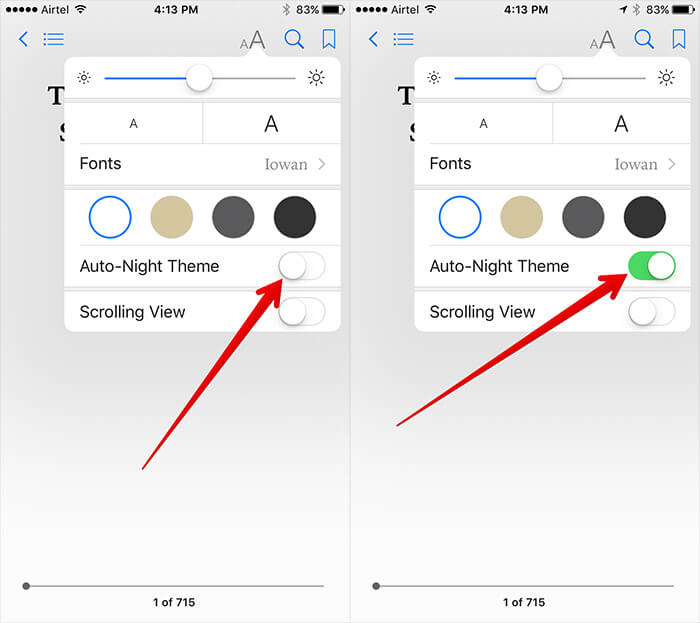 Enable Auto Night Mode in iBooks on iPhone and iPad