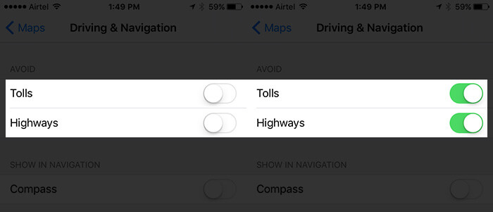 Enable Avoid Tolls and Highways in Maps App in iOS 10