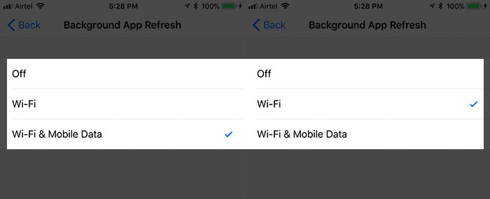 Enable Background App Refresh on Wi-Fi in iOS 11 on iPhone or iPad