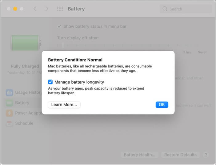 Enable Battery Health Management on M1 Mac