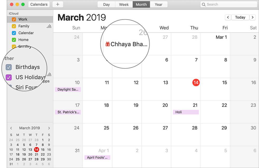 Enable Birthdays in Apple Calendar on Mac