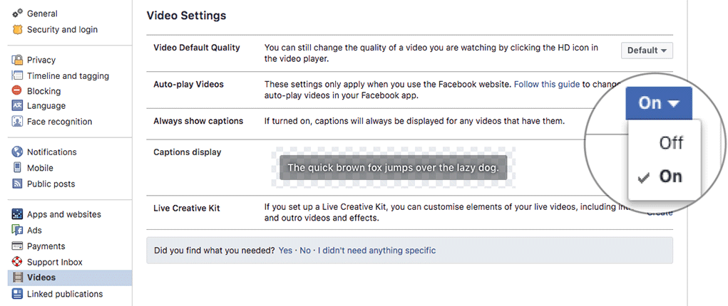 Enable Captions in Facebook Videos on Computer