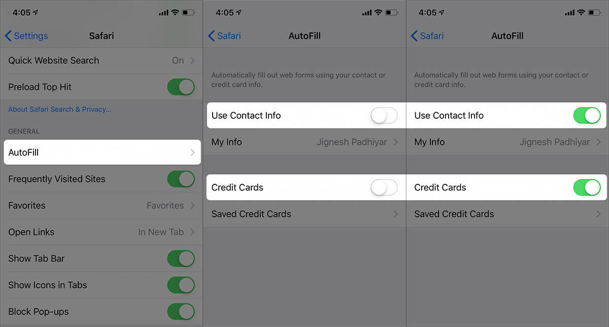 Enable Contact Information and Credit Cards for Safari Autofill on iPhone X