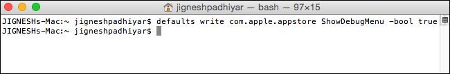 Enable Debug Menu in Mac App Store Using Terminal