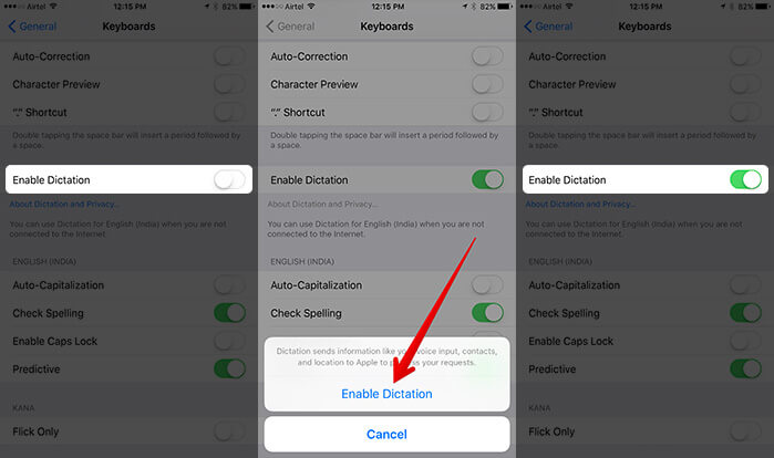 Enable Dictation for Keyboard on iPhone