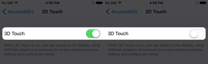 Enable Disable 3D Touch on iPhone 6s