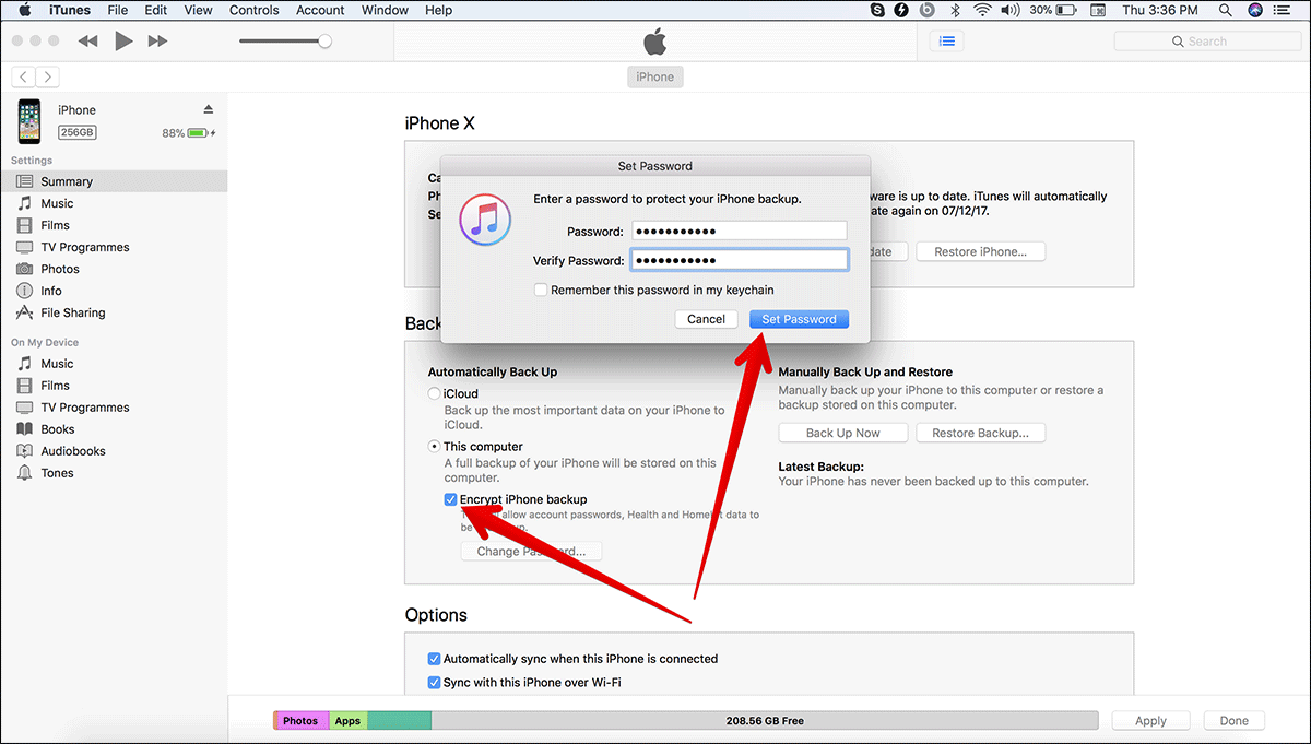 Enable Encrypted Backup in iTunes