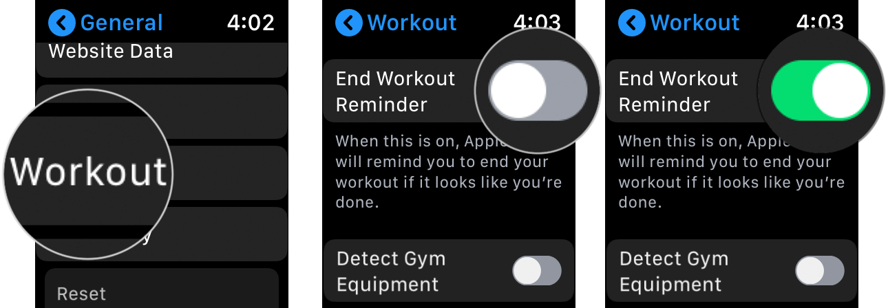 Enable End Workout Reminder on Apple Watch