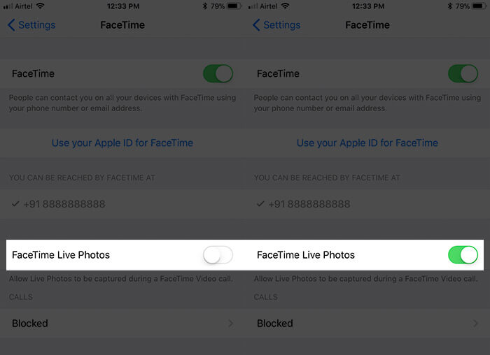 Enable FaceTime Live Photos on iPhone in iOS 11